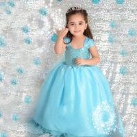 al por mayor velo de estilo princesa-Viste la nueva fiesta de Navidad Elsa princesa vestido azul congelado bola del estilo del vestido para las niñas con el velo largo viste Sweety Ropa de niños