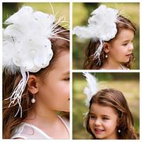 Wholesale Luxurious Feather White Flower Girl Hair Accessories Children Tiaras Formal Kids Party Head Pieces Girls Cute Flower Princess Headwear