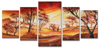 Cheap Free shipping hand-painted wall art home decoration Africa scenery Elephant oil painting on canvas 5pcs set Frameless draw FA022