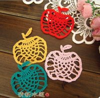 apple placemats - Chinese traditional crafts Handmade crochet placemats coasters pad cup mat apple shape cotton