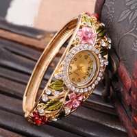 Wholesale Free DHL New Stainless Steel Bracelet Watch vine Crystal k goldplated quartz watch brand designer Charm Bracelet Womens Watch