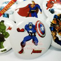 Wholesale New Hot Avengers Super Heroes Buttons Pins Badges MM Round Brooch Badges Mixed Models For Children Toy