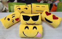 Wholesale Women Office Soft Emoji Hand Pillows Valentine s Day Gift Cartoon Facial Expression Pillows Yellow Stuffed Plush Toy Doll x10cm