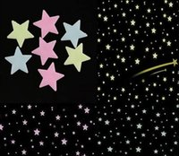Wholesale Fluorescent light Decor Stickers GLOW in the DARK SPACE in a Set Wall Ceiling Decals STARS Kid s Room CX221