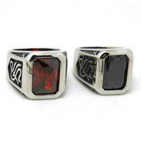 Cheap Men's Fashion Stainless Steel Jewelry Cool Red&Black Stone Ring Biker Ring