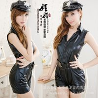 Wholesale Black leather lingerie sexy policewoman police uniforms flight attendants serving a clothing PHOTO Sexy Costumes For Women