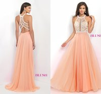Wholesale Exquisite See Through Prom Dresses Beads Jewel Neck Off The Shoulder Bridesmaid Gowns Chiffon A Line Wedding Guest Dresses Summer Style