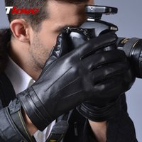 driving gloves - 2016 Winter Black PU Leather Gloves Men Warm Fashion Mittens Skiing Cycling Driving Riding Comfort Everyday Five Fingers Gloves