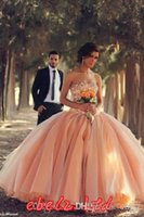 Wholesale 2014 New Sexy Peach Strapless Organza Ball Gown Wedding Dresses Beaded Crystals Top Tulle Bridal Gowns