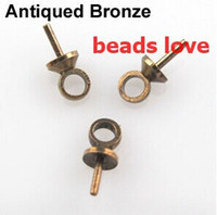 Wholesale Pick Colors jewelry Eye Pin Pearl Charm Connector Bail For Pendants X6 MM w02922