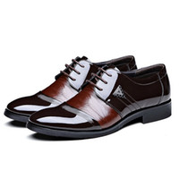 Wholesale Hot Sales Men Leather Shoes Pointed Toe Lace Up Mens Shoes Flats Fashion Splice Business Dress Shoes For Men Size TA0147 Salebags