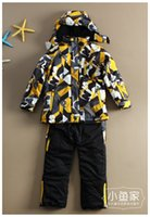 Wholesale 2015 good quality new children winter snow jacket pant boys girls thick ski clothing boys hoody winter outwear