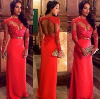 Wholesale Hot Sales Evening Gowns Backless Crew Neckline Floor Length Long Lace Sleeve Red Chiffon Prom Dresses High Quality Custom Made E005