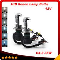 al por mayor hid automotriz-12v 35W 1 par H4-3 Hi / Lo de haz de la lámpara de xenón HID bombilla h4 iluminación del coche 6000K Automotive para BiXenon escondió envío libre kit