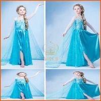 Traje de Cosplay del vestido de la princesa del niño vestido de Elsa en la promoción del vestido de lujo del traje congelada!