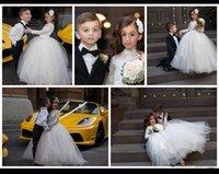 Princesa 2016 Poco flores niña vestidos de novia de encaje Sheer Long Neck desfile vestidos de blanco vestido de primera manga de alta Comunión