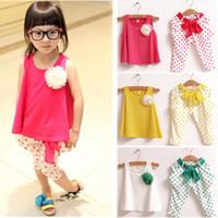 Cheap children's clothing summer set child flower female vest polka dot harem pants kids clothes girls clothing sets