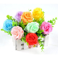 Wholesale Children S Jewelry For Girls - New Fashion kid\'s Headwear cute Rose Butterfly hair combs Accessories nice gift for children girl Wholesale FYSS0039A1
