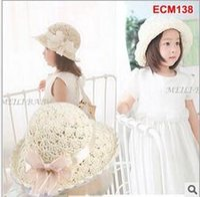 Cheap 2015 new babys kids flower crochet straw hat fashion spring summer children infant toddler girls hollow out Beach Hat Sun Hat for 1-7T girls