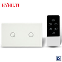 Wholesale China Hilti AU US Gang Way Black Crystal Glass Panel Remote Switch RF MHz AC V Wall Light Remote Touch Switch