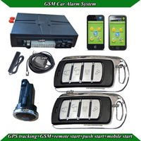 Wholesale car GSM alarm system SMS start stop engine two metal remote GPS antenna GSM antenna bypass module long push button start shock alarm
