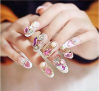 long nail art tips - Salon Nail Tips Large Water Drop Pearl Pink Rhinestone Long Nails Art Beautiful Bride Full Tip False Nails For Wedding