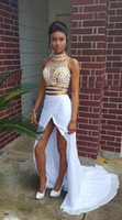 apple outfit - Women Two Piece Outfits Asymmetrical Prom Dresses High Neck Gold Beads White Chiffon Slit Sweep Train Party Dress Vestidos
