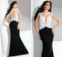 terani - Terani Evening Dresses Crew Backless Floor Length Mermaid Applique Lace Long White And Black Prom Formal Party Evening Gowns BG50475