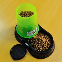 Cheap Wholesale-Pet automatic feeding and watering dogs and cats High-quality drinking bowls two bowls imported resin material Free shipping