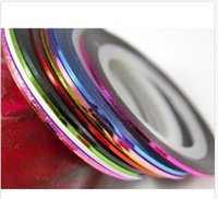 Wholesale 10 Colour Rolls Nail Art Lace Tape Line Strips False Nails Decoration Stickers colourful tape strips new