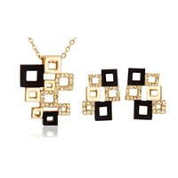 Wholesale Necklace and Earrings Jewelry Sets High Grade Full Rhinestone Cube Jewelry set Abstract square mosaic Jewelry Sets For Women