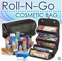 rolling bag - 2 colors New storage Bags Roll N Go Cosmetic Toiletries Makeup Organiser Bag Pocket Travel Compartment foldable wash Bag LJJC951