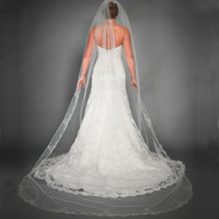 bead trims - 2015 Catheral Veils Long Lace Appliques Trim Bridal Veils Cathedral Wedding Tulle Veil with Beads