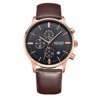 Wholesale Men Top Brand Military Watch Relogio Masculino MEGIR Genuine Leather Luxury Men Watches Chronograph Hands Calendar Function