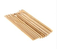 Wholesale 12pcs set Plastic Handle Crochet Hook Bamboo Knitting Knit Needle Set Weave Tools with Different Size
