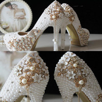 beads leather shoes - 2015 Glitter Cheap Wedding Shoes Pearls Crystals Beads Pumps Shoes Gold Rhinestone Lace High Heels Bridal Shoes WS5