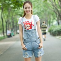Cheap Wholesale-New Arrival Women Casual Denim Washes Coverall Jeans Shorts with Holes Ripped Jumpsuit Romper Jeans coveralls For female Girl