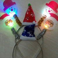 accessories led decoration - Light Flashing Blinking LED Santa Claus Snowman Headband Christmas Fun Party Decoration Gift Led Rave Hair Accessories Toy