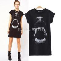 womens black dress shirt - Black Womens Ladies Animal Dog Head Print Short Sleeve T Shirt T Shirt Dress S1547 rl