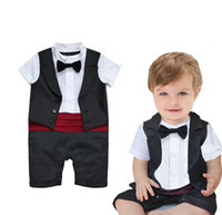 baby long sleeve creeper - for summer new baby boy s short sleeved shirt collar vest tie one piece rompers baby gentleman romper jumpsuit creepers