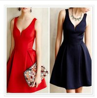 Cheap 2015 fashion Gorgeous A Line Bridesmaid Dresses Red Satin Sexy Deep V-Neck Straps Prom Dress Pleated Cheap Under 50 Elegant Party Dres