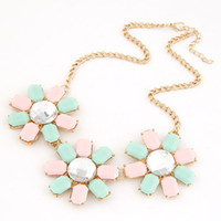 Wholesale 2015 Fashion Three Flower Pendant Choker Collar Necklace Women Resin Necklace Jewelry For Women