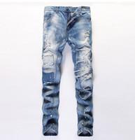 men color jeans - 2016 Men Catwalk Shows Solid color Oil Paint Print Stretch distressed jeans men Cotton joggers pants for men Slim Washed designer jeans
