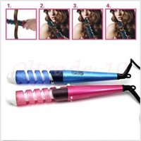 Wholesale 10pcs CCA2933 Hot Professional Portable Hair Salon Spiral Curl Ceramic Curling Iron Hair Curler Waver DIY Travel Spiral Roller Hair Curler