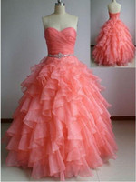 Wholesale Chic Organza Quinceanera Dresses Ball Gowns Cascading Ruffles Crystals Sweet Prom Party Gowns Back Lace Up Chic Quinceanera Dress