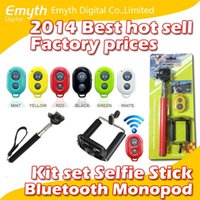 Wholesale Factory price Bluetooth Remote Shutter Phone Clip Monopod For iPhone IOS Galaxy Android in kit set selfie stick with retail package