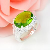 Wholesale Sterling Silver Wholesale Mexico - High Quality 5pcs lot Oval Grass Green Quartz Gemstone .925 Sterling Silver Flower Ring Mexico American Australia Weddings Jewelry Gift