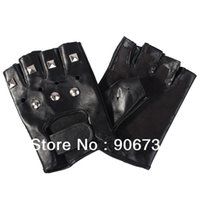 Wholesale Fashion Men s Motorcycle Sheepskin Leather Fingerless Silver Rivets With Seven Rivets