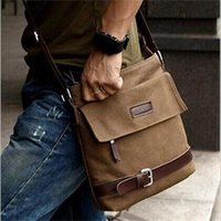 Wholesale Men s Brown Canvas Shoulder Crossbody Bags Stylish Leather Working Student Hiking Bag For Men Fashion Men Bags