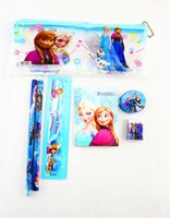 Wholesale 2014 Frozen stationery set for Students Office School Supplies Frozen Cases Bag book pencils Ruler eraser sharpener bag